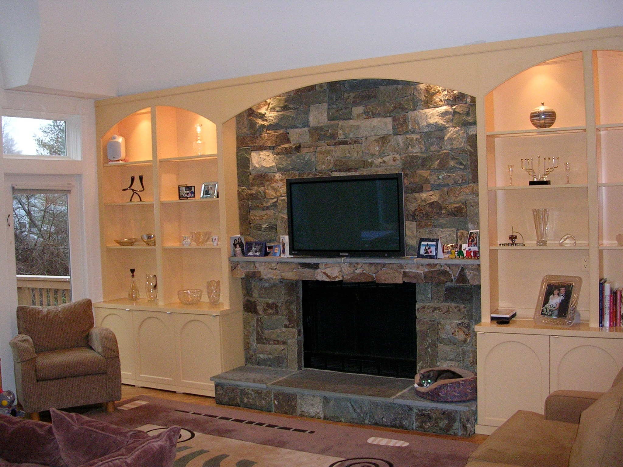 Spray Lacquered Family Room Wall Unitspray Unit With Stone Mantel Designer Lila Weisberg