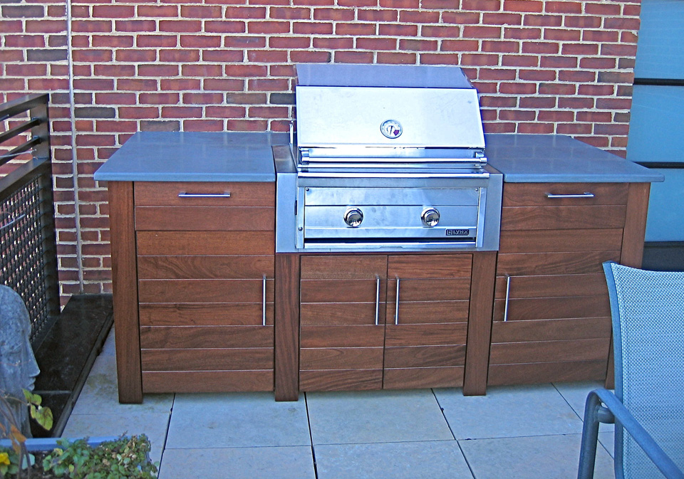 Decks arbors outdoor design hlwood for Outdoor grill cabinet design