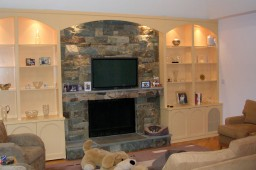 Spray lacquered family room wall unit